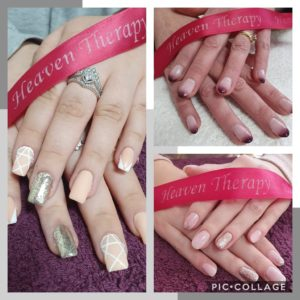 Gel nails Extensions at Heaven Therapy beauty salon in Cullercoats near wallsend Tynemouth Whitley Bay Killingworth